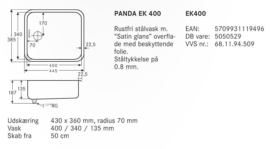 Køb Panda køkkenvask EK 400 - 681194509 til markedets bedste pris. Hurtig levering og Danmarks ...